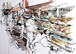 drawing busy places at the supermarket sketch away travels