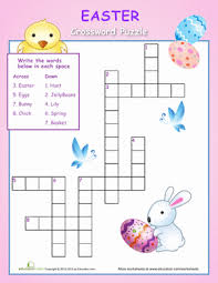 easy easter crossword crossword spelling worksheets and first grade