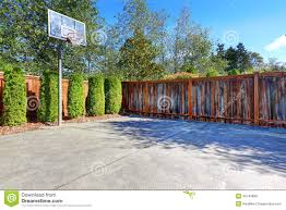 backyard with basketball court stock photo image 45740889