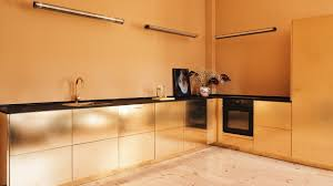 kitchen interior photo reform hacks ikea cabinets to create gold hued kitchen for stine goya