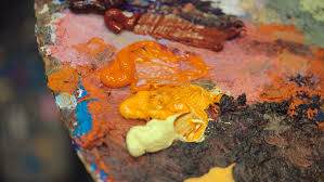 artistic palette with many colors working tool of the artist with
