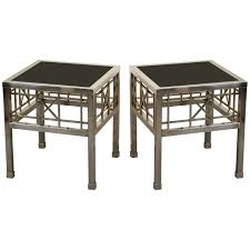 caign style side tables pair of caign style side tables in metal and black glass for sale
