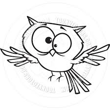 cartoon owl black and white line art by ron leishman toon