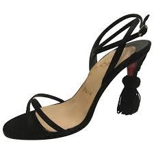 black plain leather christian louboutin sandals vestiaire collective