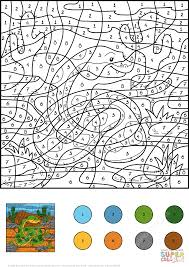 snake color by number free printable coloring pages