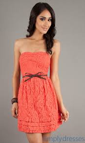 coral casual drees dress casual strapless lace dress simply