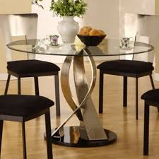expandable round dining table black glass top brown laminated
