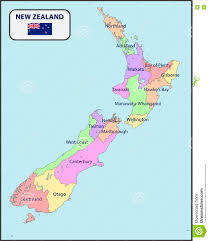 Excepcional Political Map Of New Zealand With Names Stock Vector  @RK02