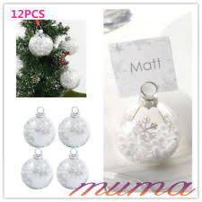 4 christmas tinsel filled glass bauble table name place card