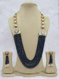 long necklace images Babosa sakhi high quality jewelry kundan blue onyx bead long jpg&a