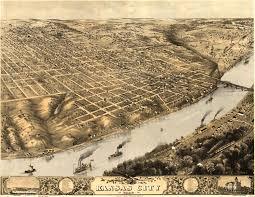 Map Of Ks Birdseye View Of Kansas City Missouri 1869