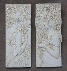 art nouveau wall plaques mucha garden wall plaques online art