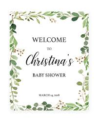 baby shower sign printable boho baby shower welcome sign template green shower