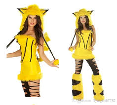 Big Kid Halloween Costumes 2016 Poke Girls Halloween Cosplay Dresses Pikachu Party Plush