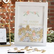 50th anniversary guest book personalized personalized white heart drop guest signature shadow box