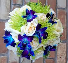 Blue Orchids Blue Orchids And Green Spider Mums Bouquet Wedding Flower