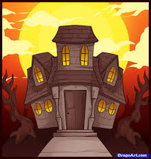 drawn haunted house halloween pencil and in color drawn haunted