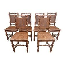 brown spanish style barley twist cane dining room chairs set of
