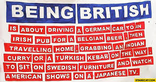 British Memes - being british is about driving a german car to an irish pub for a