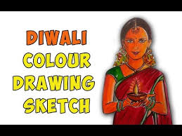 diwali colour drawing sketch youtube