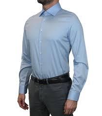shirt men long sleeve 2 button slim satin full color light blue