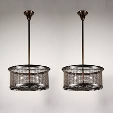 Basket Chandeliers Two Matching Antique Industrial Three Light Iron Basket