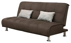 brown microfiber comfort armless sofa bed futon couch sleeper with