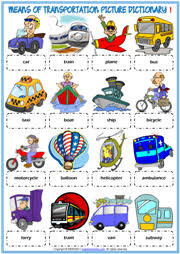 means of transportation esl printable picture dictionary ch