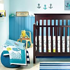 amazon com new baby boy neutral animal ocean whale 8pcs crib