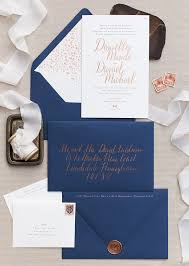 wedding invitations navy copper foil and navy calligraphy wedding invitations