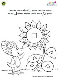 barney friends baby bop flower shapes coloring pbs kids
