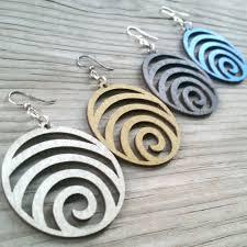 green tree earrings green tree jewelry earrings wave laser cut wood modern spiral