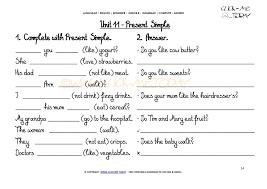 printable grammar worksheet c a present simple u11