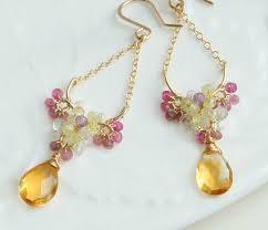 Citrine Chandelier Earrings Citrine Chandelier Earrings Flower Jewelry By Yukojewelry
