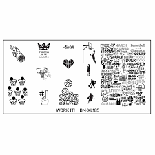 bmc cute sports themed nail art stamping xl plate set work it