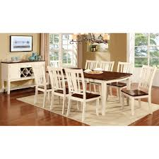furniture of america lohman 9 piece dual tone dining table set