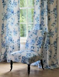Blue Upholstery Fabric Upholstery Fabric Floral Pattern Cotton Mayflower Jane