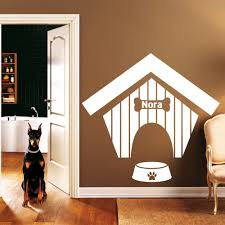 cartoon name stickers printing promotion shop for promotional personalized dog name wall decal dog house pattern dog bones vinyl wall stickers removable modern design paw prints decor