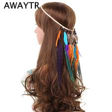 hippie bands women feather hair accessories 2017 fashion peacock feather