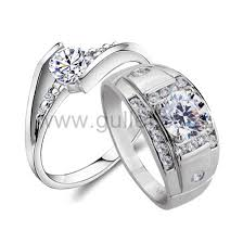 wedding rings his hers personalized his hers 0 6 carat synthetic diamond silver