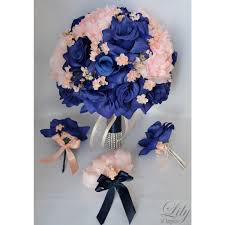 Royal Blue Corsage And Boutonniere Peach Royal Blue Bouquets Corsages Boutonnieres