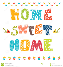 home sweet home decoration home sweet home poster design with decorative text stock vector