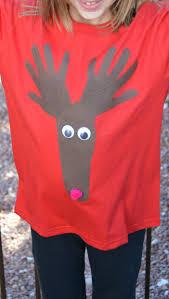 no sew christmas shirt for kids reindeer hand print