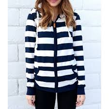 long sleeve striped zippered women u0027s hoodie