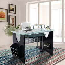 Top Computer Desk Techni Mobili Stylish Frosted Glass Top Computer Desk With Storage