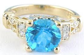 wedding rings topaz images Blue topaz and diamond ring with 8mm round checkerboard faceted jpg