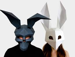 skull mask low poly rabbit mask diy printable masks instant