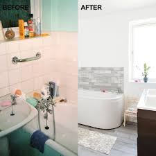 before and after from cramped bathroom to calm haven