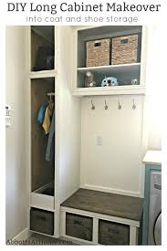 how to make storage cabinets diy cabinet makeover into coat and shoe storage
