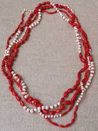 coral bead necklace images White pearl red coral necklace extra long strand necklace long jpg